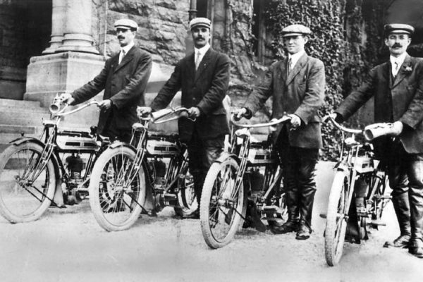 Members of the first Toronto Police motorcycle squad