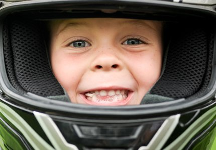 Kid with helmet