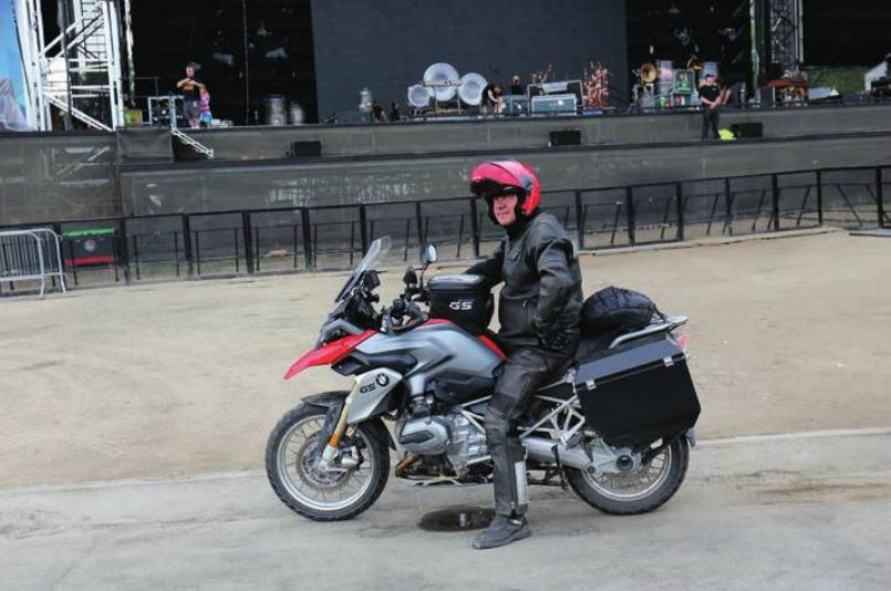 Neil Peart on BMW motorcycle